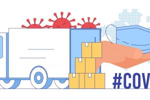 Coronavirus Epidemic Global Crisis, Humanitarian Aid Emergency Delivery, Face Mask Deficit Problem Solving Concept. Cardboard Boxes with Special Protection Clothing near Truck Flat Vector Illustration (Coronavirus Epidemic Global Crisis, Humanitarian